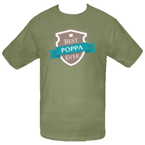 Best Poppa Ever T-Shirt vintage shield label design. $16.99 www.personalizedfamilytshirts.com  #Poppa