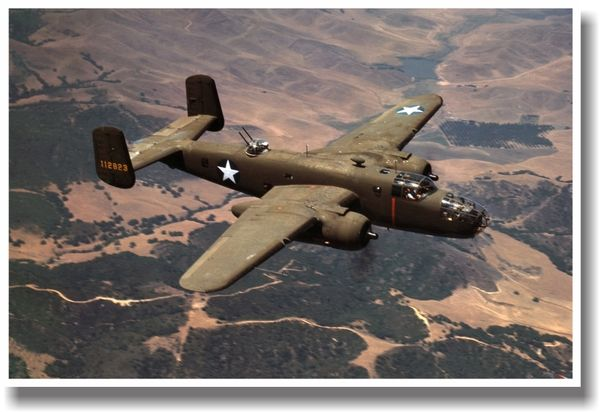 WW2 USAF Bomber B-25 Mitchel Picture Poster