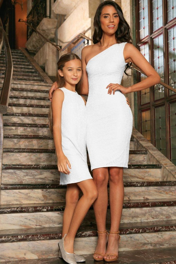 Photo of White Stretchy Lace Sleeveless Stunning Fancy Mother Daughter Dress
