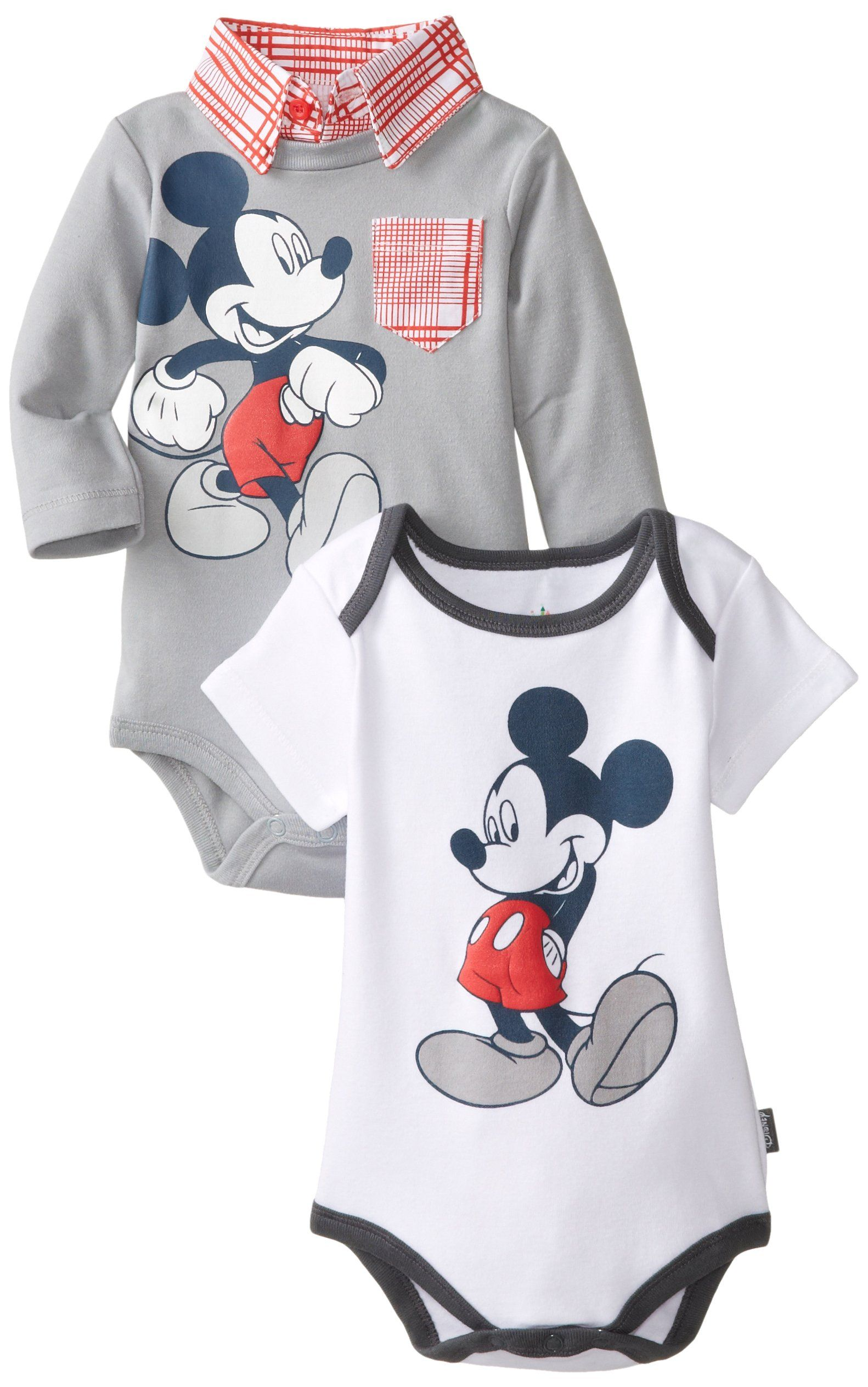 Disney Baby Boys Mickey Mouse 2 Pack Bodysuits with Collar and