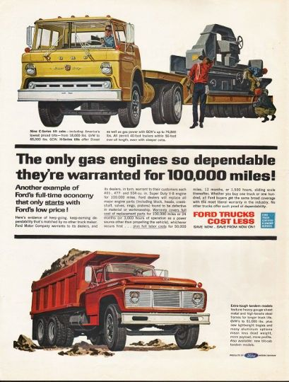 1962 Ford Trucks Vintage Ad The Only Gas Engines Model Year