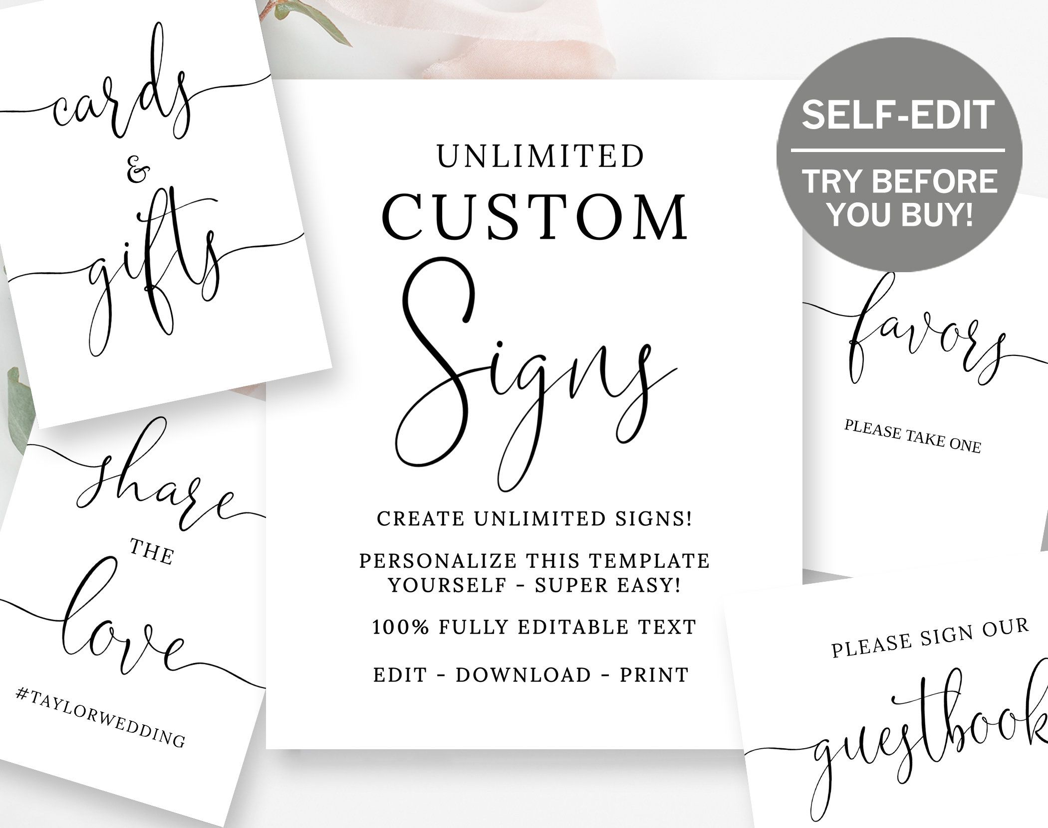 Create Custom Wedding Signs, TRY BEFORE You BUY, 8x10, Bridal Shower Sign, Baby Shower Sign, Custom Signs, Wedding Signage, Template