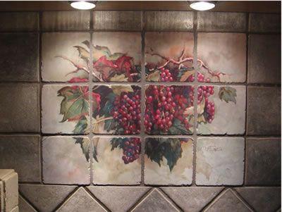 Decorative Wall Tile Murals Grape Kitchen Theme  Examples Of Kitchen Backsplashes Kitchen