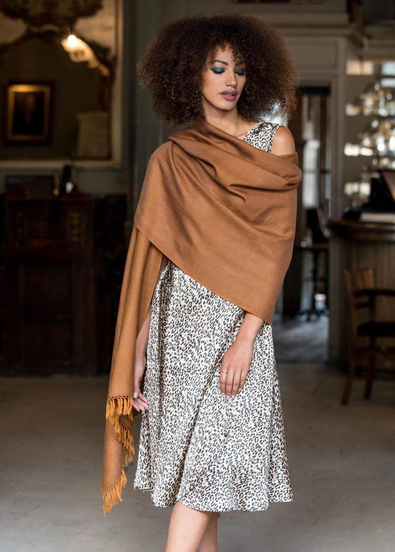 928236380 Herringbone Handloom Merino Wool Pashmina Scarf Ochre 200 X 75cm ...