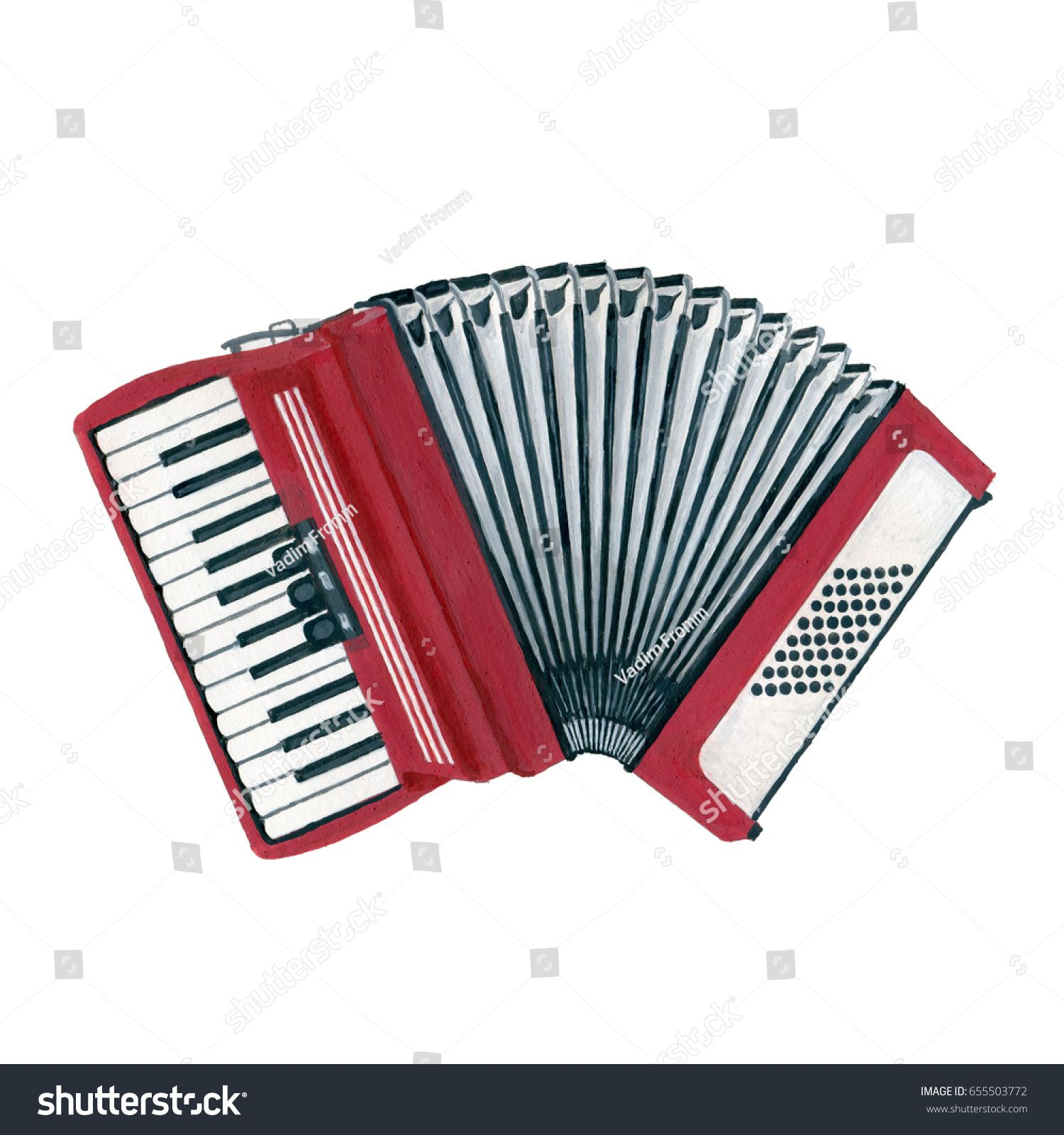 A realistic drawn accordion, hand painted with gouache