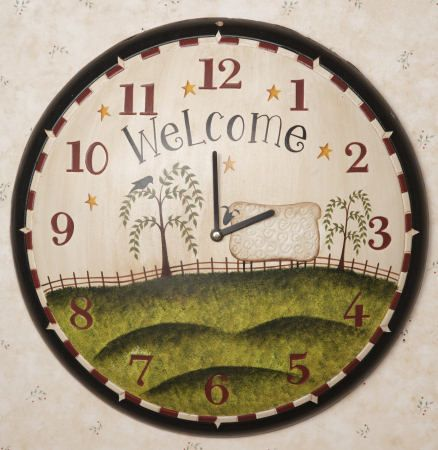 Primitive Sheep Grazing Wall Clock Country Themed Wall