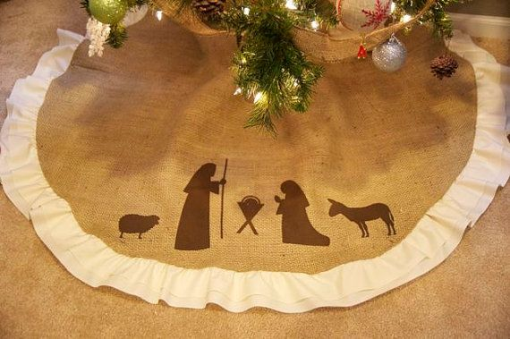 Nativity Scene Christmas Tree Skirt by thelittlegreenbean on Etsy