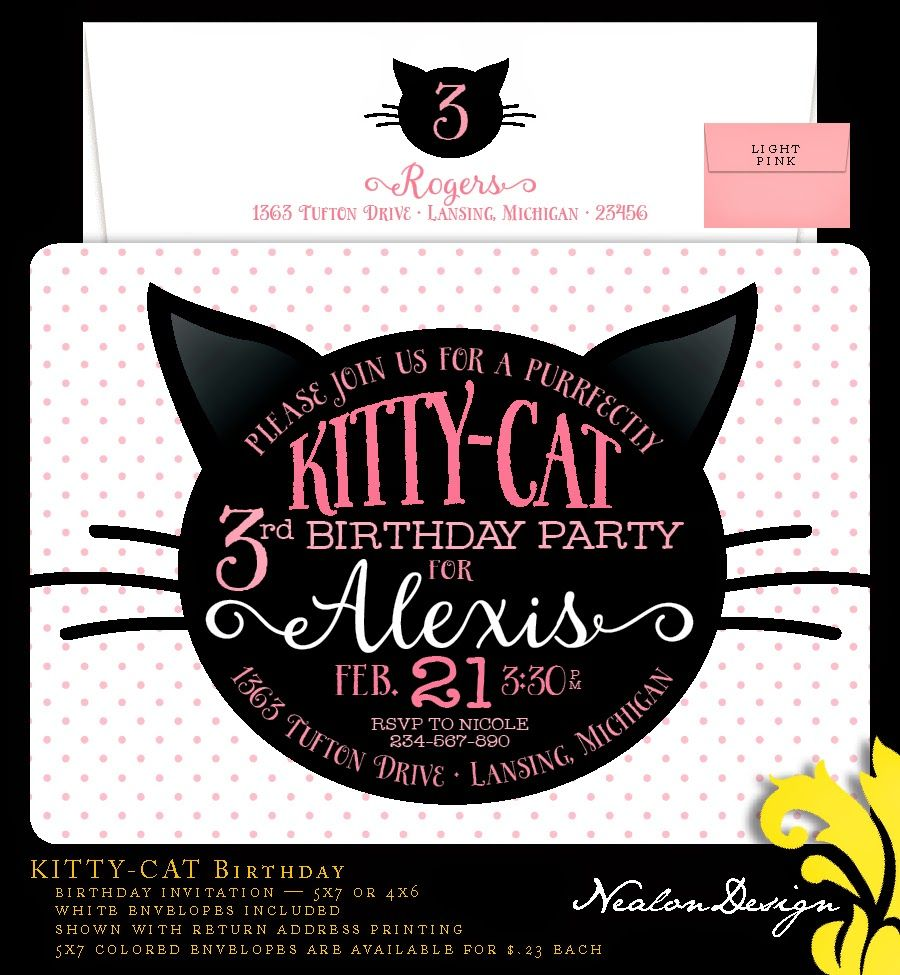 Kitty cat birthday invitation cat invitation kitty cat kitty cat birthday invitation cat invitation kitty cat invitation meow invitation 5x7 with reverse side party invitations kitty and birthdays filmwisefo Image collections