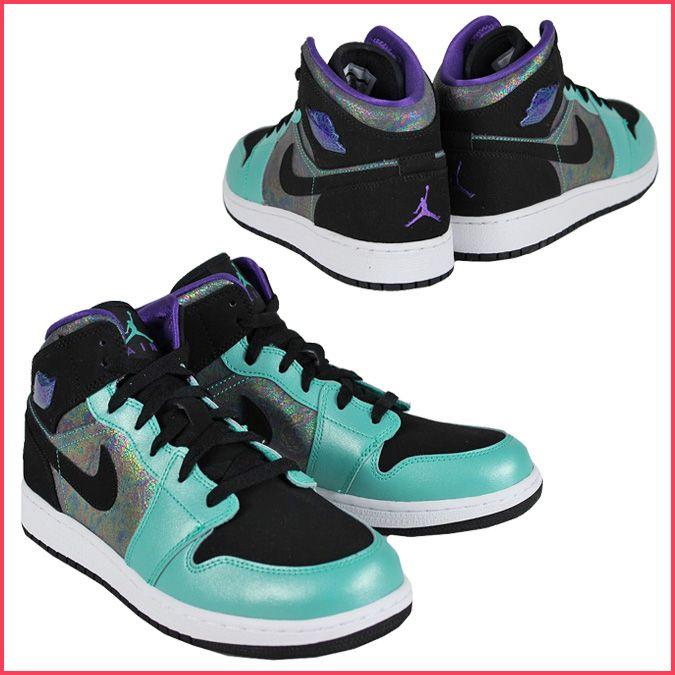 Nike NIKE sneakers 555112-309 GIRLS AIR JORDAN 1 MID junior kids child  ladies girls Air Jordan 1 mid A.TEAL