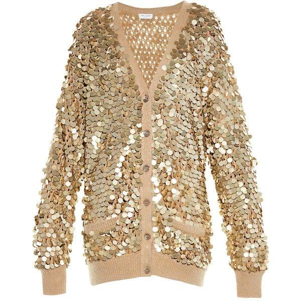 Saint Laurent Sequin-embellished cardigan (53.150 ARS) ❤ liked on ...