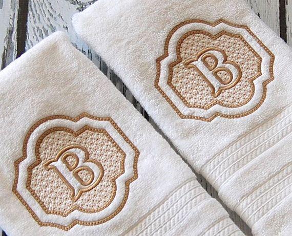 Monogram hand towels embossed by