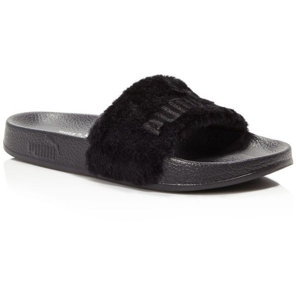 newest eeb3b 593c7 Puma Fenty Leadcat Faux Fur Slide Sandals ( 85) ❤ liked on Polyvore  featuring shoes, sandals, black, black shoes, kohl shoes, black sandals,  puma footwear ...