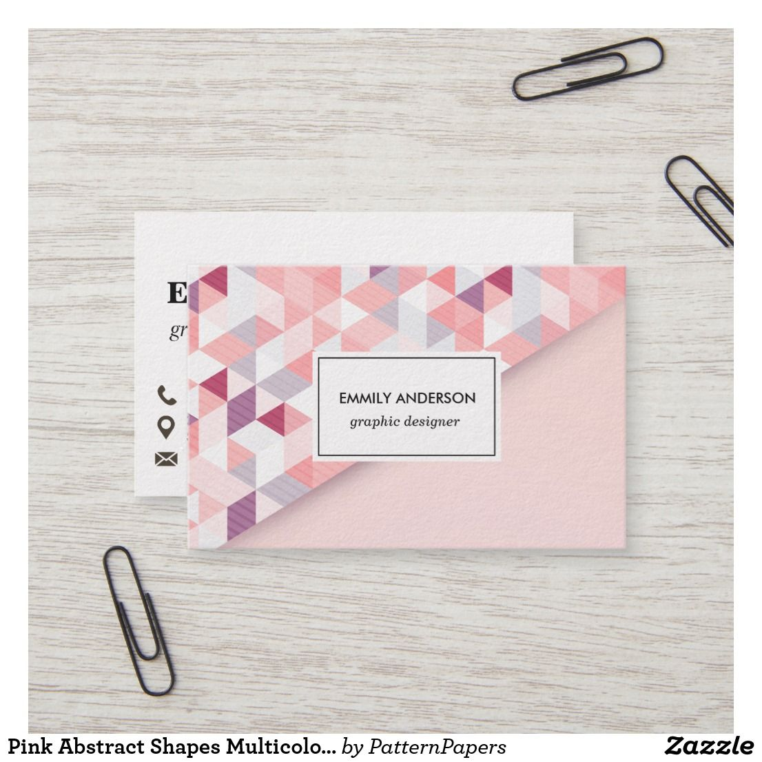 Pink Abstract Shapes Multicolor Business Card