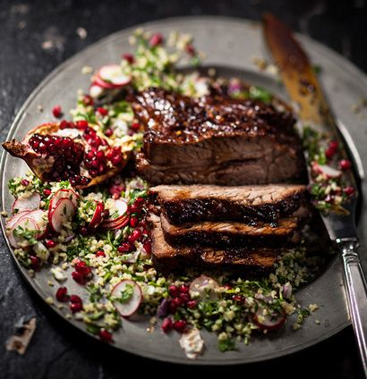 turkish roast beef brisket with pomegranate and radish tabouleh