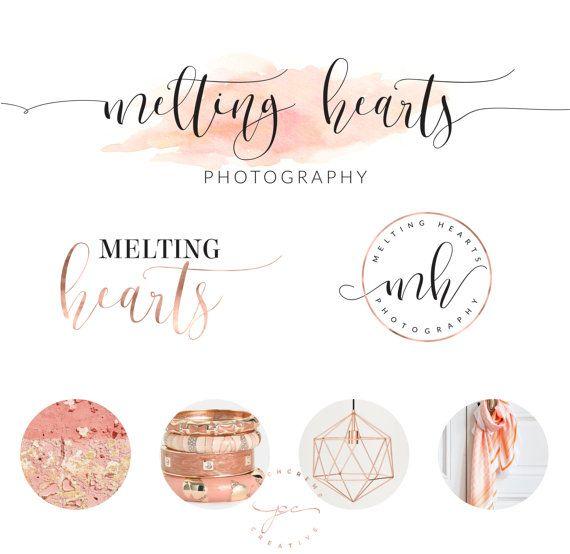 Wedding Branding Ideas: Rose Gold Branding Kit Logo Design Premade Branding By