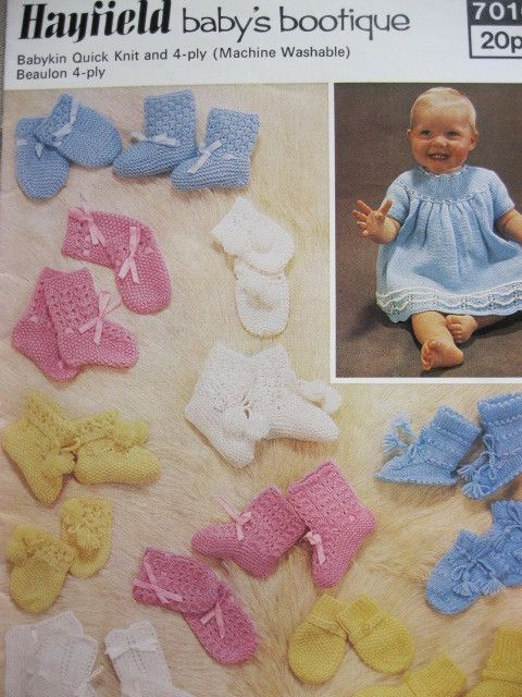 5f381ef274b9 Hayfield knitting pattern 7016 babies bootees and mitts dress ...