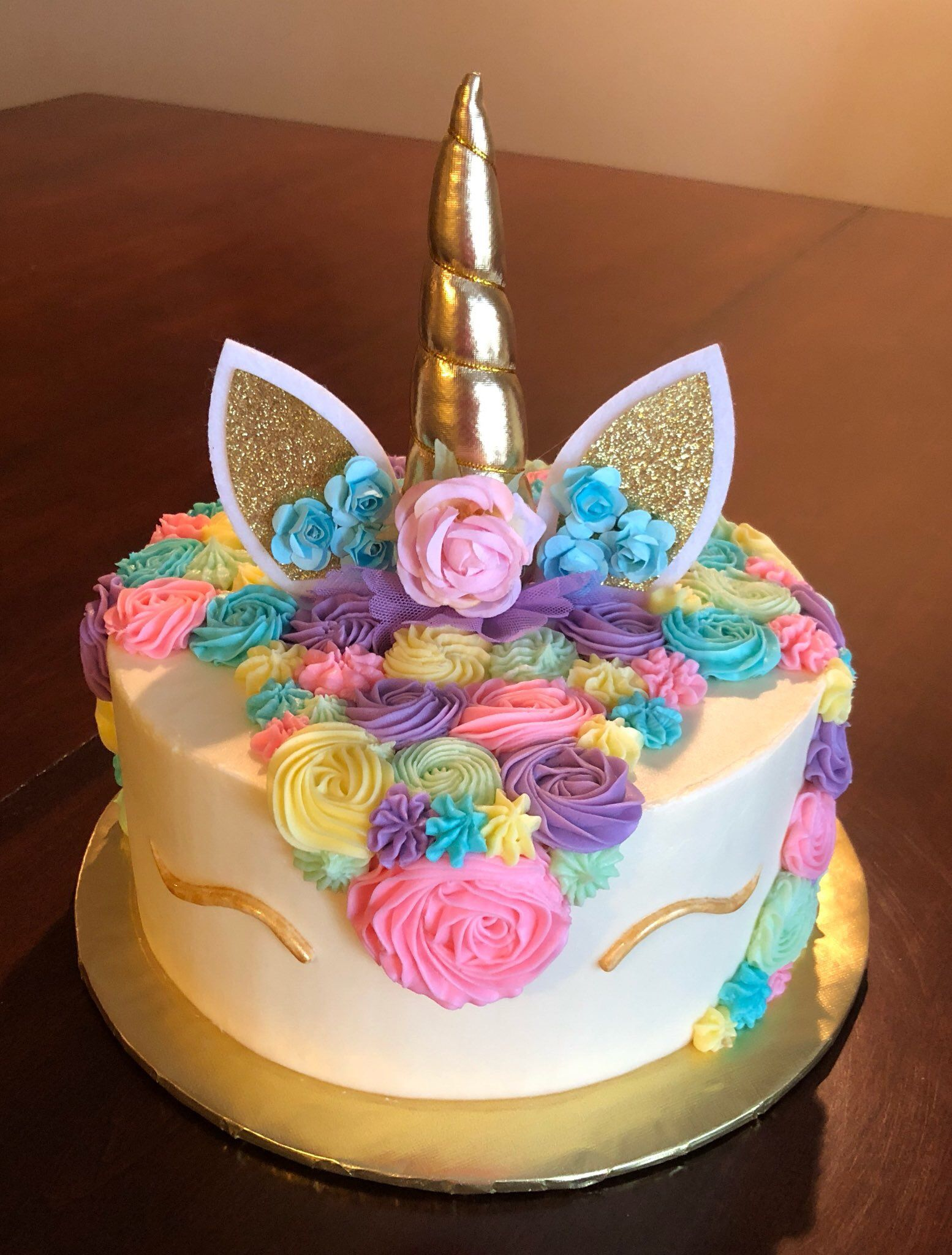 This birthday celebration called for a colorful unicorn cake