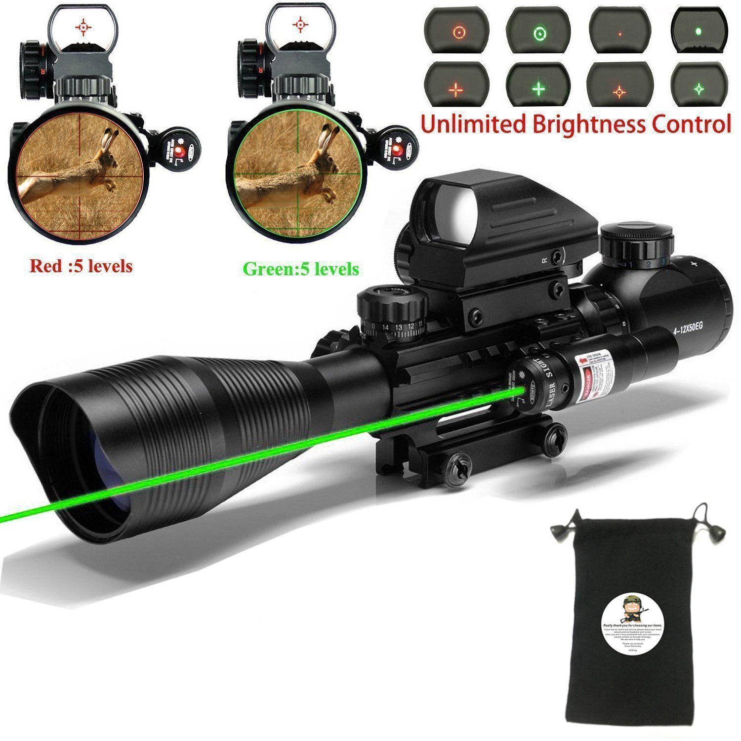 Tactical Rifle Scope for AR15 C4-12x50EG Hunting 3 in 1 Dual