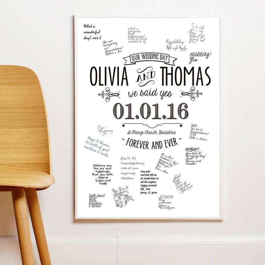 personalised guestbook wedding poster three sizes guestbook