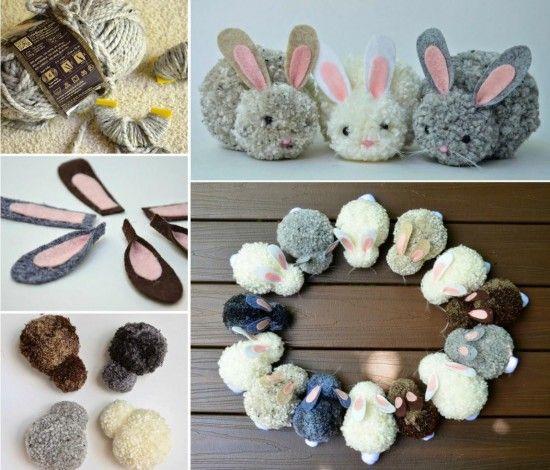 wonderful diy easy pom pom bunny ostern basteln und bastelideen. Black Bedroom Furniture Sets. Home Design Ideas