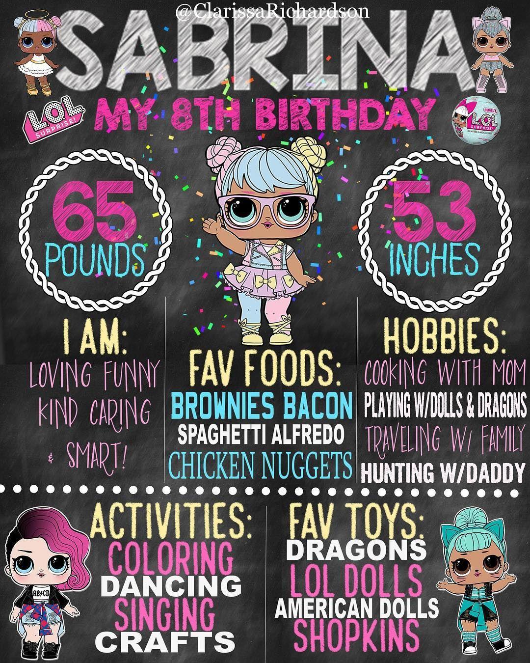 Lol Surprise Theme Birthday Chalkboard 16x20 #bonbon