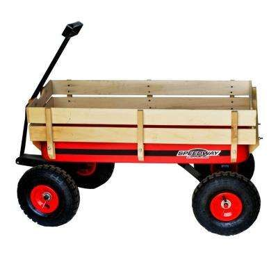 200 Lb Capacity All Terrain Wooden Racer Wagon Wheelbarrow Wooden Wagon Big Red Wagon