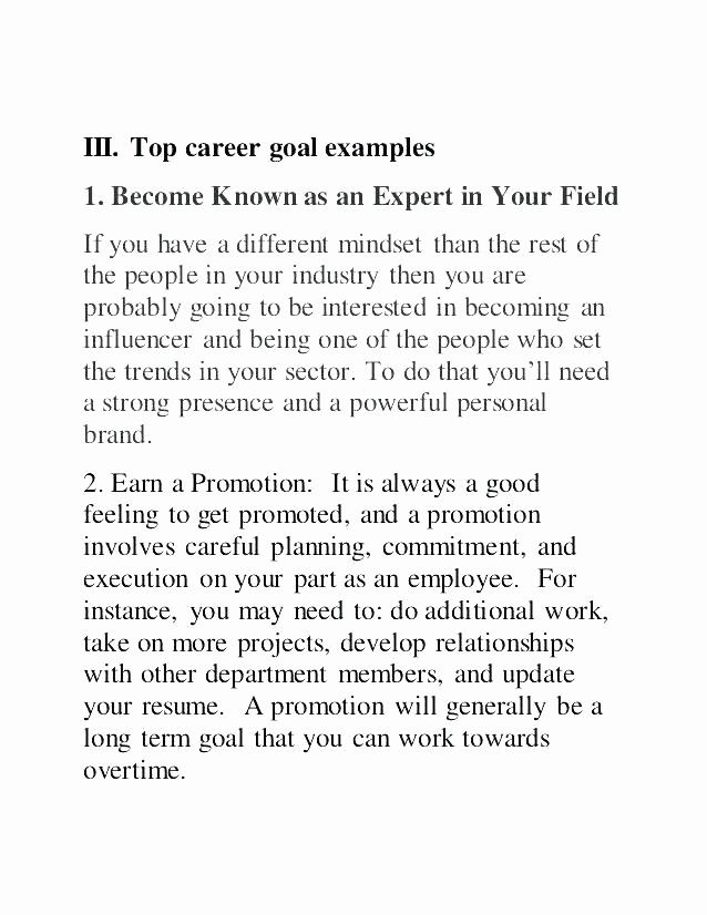 Example Career Goals Essay Awesome Example Career Objective Resume Goal Examples for Goals #examplesofgoals