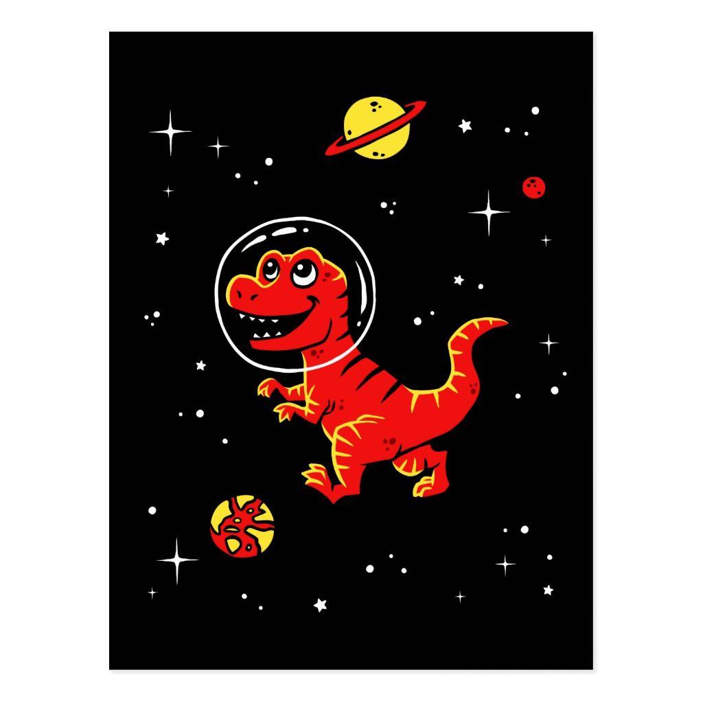 Red Tyrannosaurus Rex Dinos In Space Postcard | Zazzle.com #tyrannosaurusrex