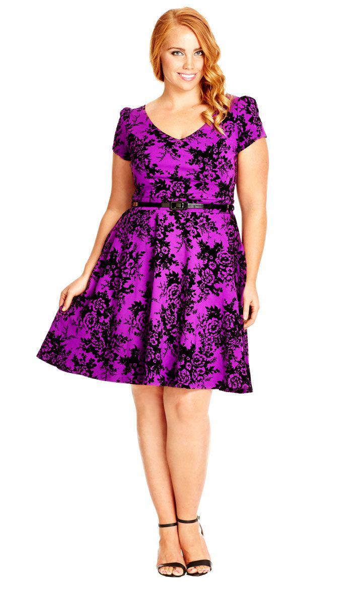 City Chic Flocked Skater Dress - Women\'s Plus Size Fashion City Chic ...