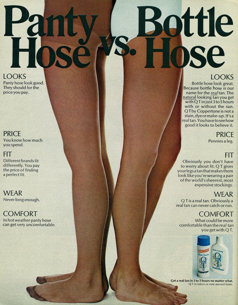 1972 Beauty Ad, Coppertone QT Tan Lotion, Two Women's Legs