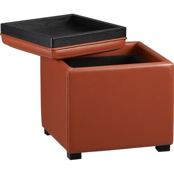 Stow Persimmon 17 5 Leather Storage Ottoman In Ottomans Cubes