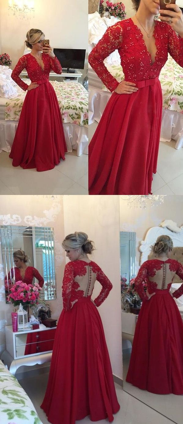Open back lace prom dresses long sleeve lace prom dresses long