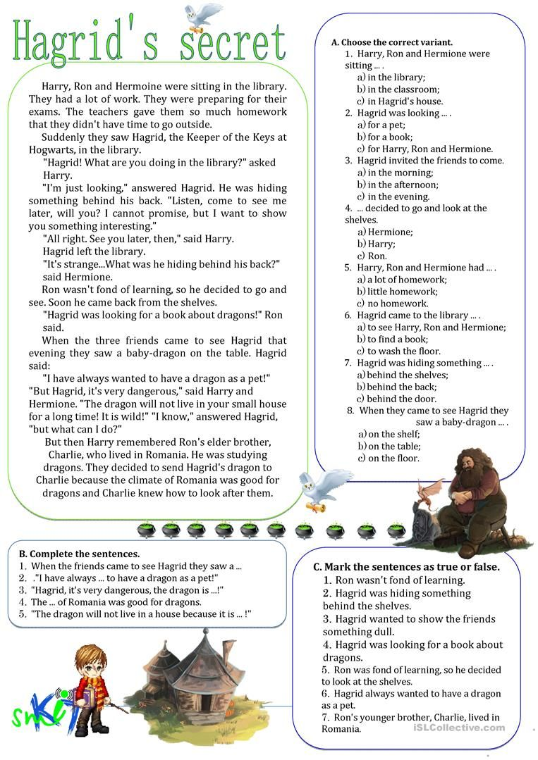 Hagrid D Secret English Esl Worksheets For Distance Learning And Physical Classrooms Reading Passages Reading Comprehension Lessons Harry Potter Classroom [ 1079 x 763 Pixel ]
