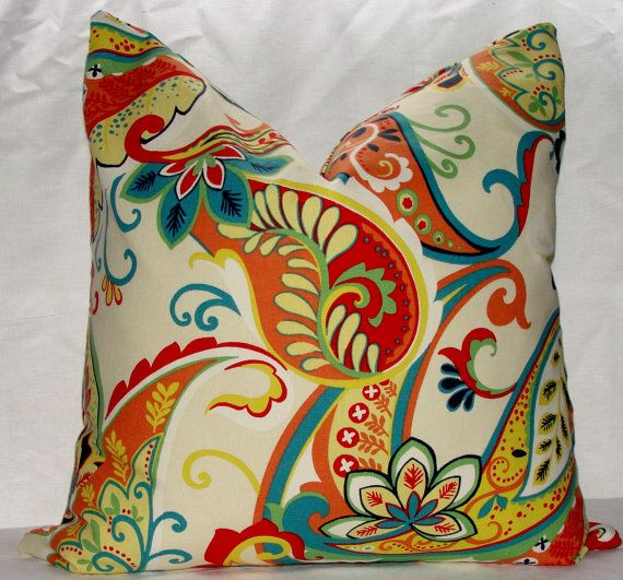 Covington Colorful Whimsy Paisley Multi Throw Pillow Cover