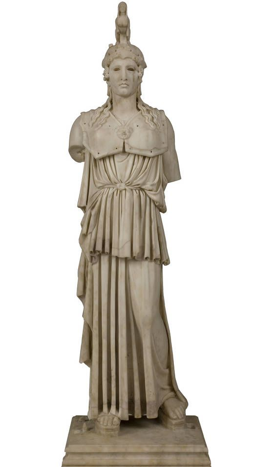 'Athena Parthenos' - Author: Anonymous - Procedence Royal Collection -- A miniature Roman reproduction of the famous statue that Phidias made for the Parthenon in Athens between 447 and 438 B.C. The original was about eleven meters in height and made gold and ivory.   Here, the cleanness and depth of the vertical folds are notable and in keeping with the rather long-faced canon typical of Athenian art from that period. The helmet crest is the result of a seventeenth-century restoration.
