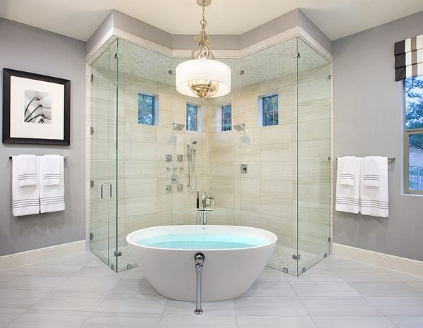 custom shower tub combo. Combine the tub with a smart shower area Hot Bathroom Trends  Freestanding Bathtubs Bring Home The Spa
