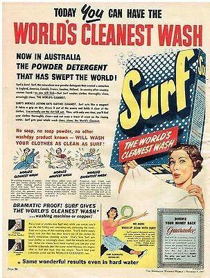 Surf Washing Powder Australia 1957 Funny Vintage Ads