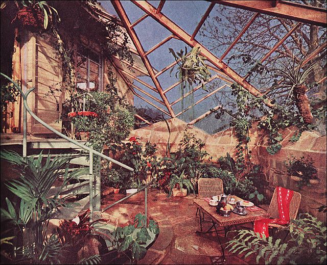 1963 Attached Greenhouse | Green houses, House beautiful and Mid century