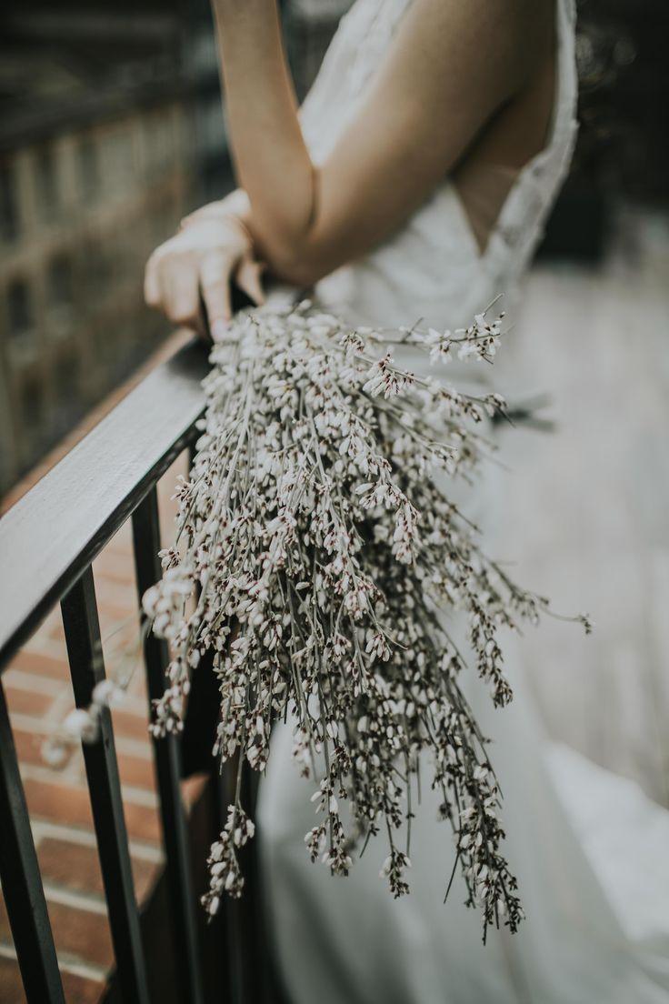 Minimalist Monochrome Inspiration by The Bijou Bride with Ranunculus, Anemones & White Genista Flowers