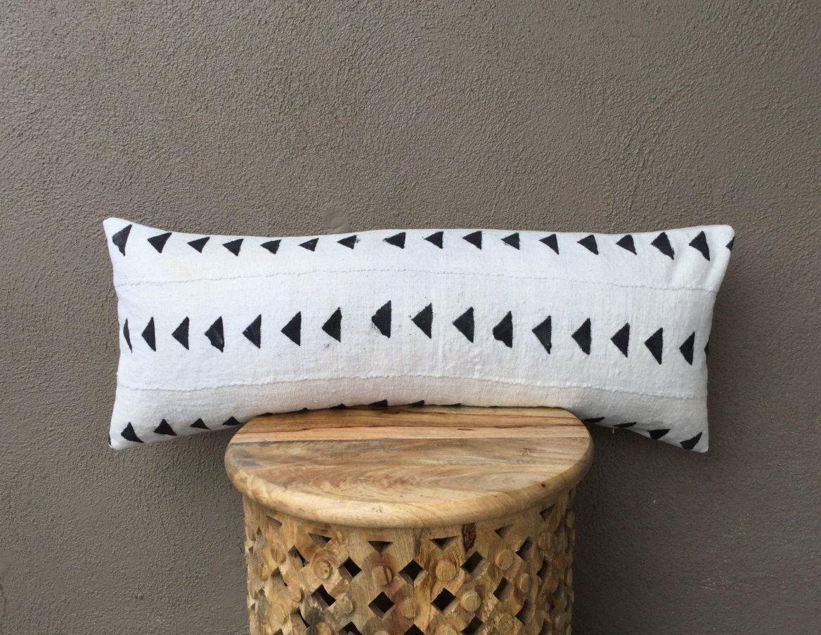African Mudcloth Large Lumbar Pillow Bed Cover 14 X 36