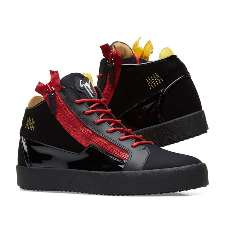 ee9a93a30f3e Giuseppe Zanotti Double Zip Deconstructed Mid Sneaker Black   Red 7 ...