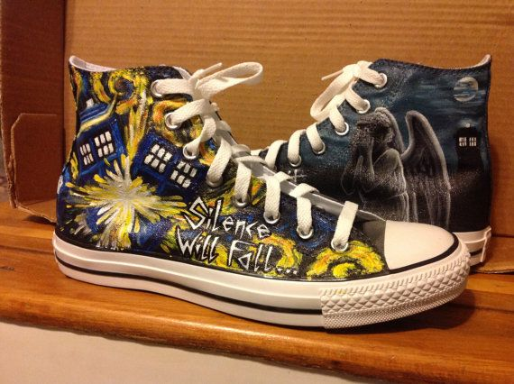 98c4dc2b6ec1 Doctor Who Custom Painted Shoes by ArtNutDesigns on Etsy
