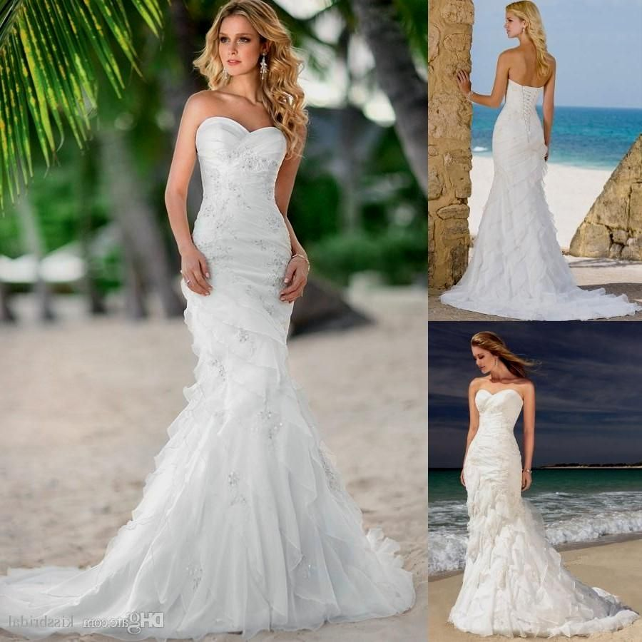 Elegant 2015 Mermaid Beach Wedding Dresses With Sweetheart Lace Up Short Wedding Dress Beach Beach Wedding Dress Mermaid Beach Wedding Dresses