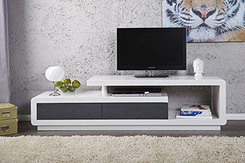 Meuble Tv Meuble De Salon Marvin Blanc Gris Laque Meuble Design Et Ultra Tendance Tv Room Design Living Room Tv Unit Designs Tv Room Decor