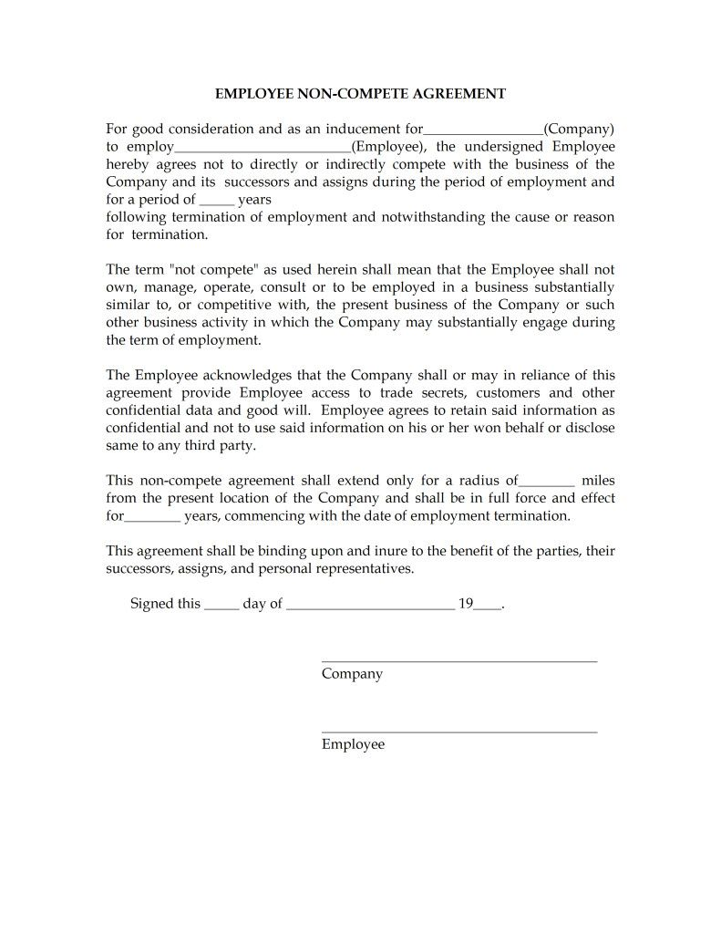 Free Non Compete Form Agreement Word Templates Free Word Templates Contract Template Event Proposal Business Template