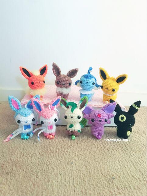 Pokemon amigurumi Eeveelutions - Leafeon, Glaceon, Vaporeon, Flareon, Jolteon, Sylveon, Espeon & Umbreon #amigurumi
