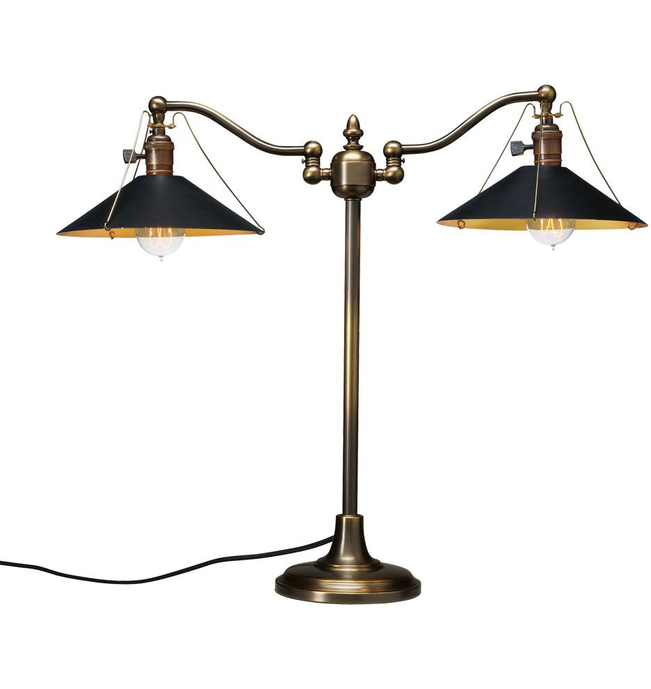 Chicago Desk Lamp in Burnished Antique with B4955 Shades in Matte Balck and  C5494 Bulbs from - Chicago Desk Lamp In Burnished Antique With B4955 Shades In Matte