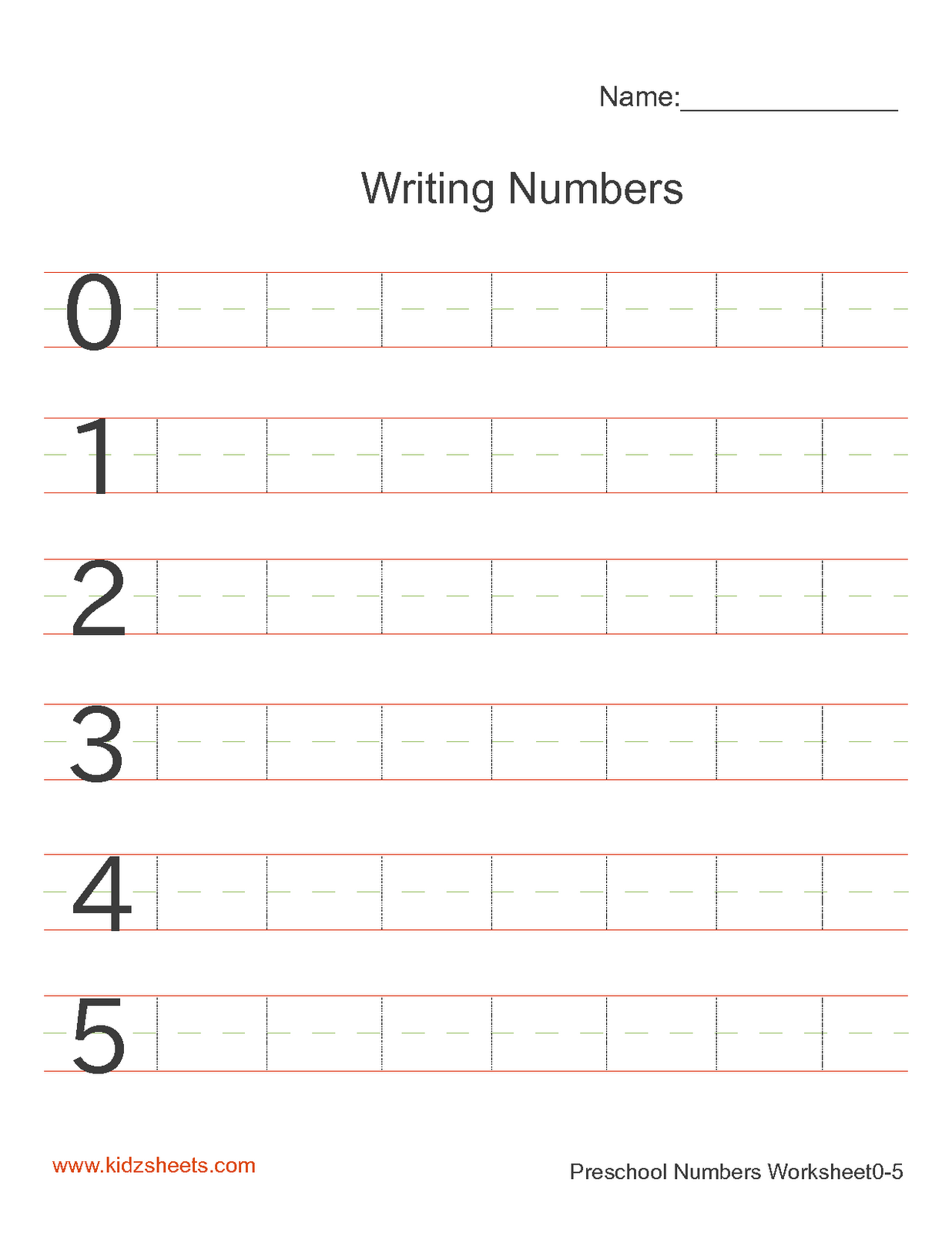 Preschool Writing Numbers Worksheet1