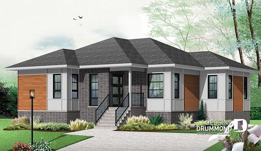 Plan de maison unifamiliale Mainville 2 No 3133-V2 Plan maison - maison contemporaine plan gratuit