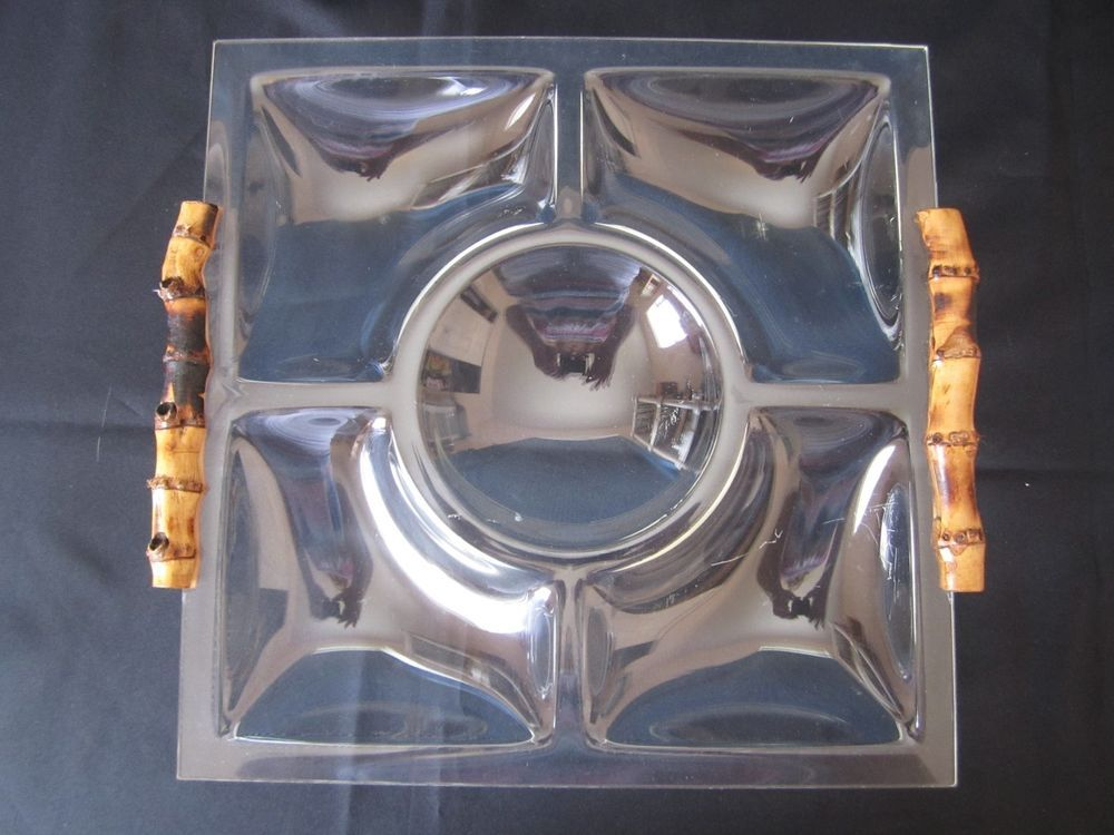 Lucite Bamboo Handle Tray Sectioned Serving Vanity Square Tray Hollywood Regency